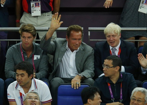 Actor Schwarzenegger and the Mayor of London Johnson attend the men's gold medal  basketball match between the U.S. and Spain at the North Greenwich Arena in London during the London 2012 Olympic Games