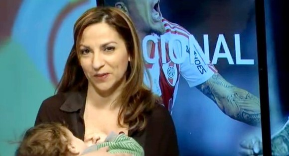 """Pic shows: TV journalists breastfeeding. Thousands of women have took to the streets and the internet in protest after police officers forbid a woman from breast-feeding in public. Coni Santos, 22, was leaving the bank when her 9-month-old  son Dante started crying for a feed. The young moher sat on a bench in a nearby park in the town of San Isidro, one of the suburbs of the eastern region of Buenos Aires. She then started to breastfeed her baby when two police officers came up to her and asked for her ID. They informed the woman that she cannot breastfeed in public. When she told them her son was hungry and she cannot afford to book into a private suite every time she has to breastfeed, Coni was told she could be taken to the police station. The mother left the park, furious about what had happened. She went to submit a complaint to the Commissariat for Women, but was told that no abuse had been inflicted and therefore there was no grounds to complain. The determined mother then made her case public social media. Within hours thousands of users shared her story and organised a protest. On Saturday thousands of women gathered in the same park with their babies and simultaneously breastfed their children to show their support to Coni. The event was named """"La Teteada Masiva"""" (ëThe Massive Breastathoní) Their campaign was even joined by female TV news anchors on national channel ëCanal 10í who breastfed their babies whilst they reported the news live on air. Social media figures and celebrities also posted breastfeeding photos such as Argentinean Playboy model Evangelina Anderson, who is married to former Manchester City defender Martin Demichelis. Actress Griselda Siciliani, 38, posted an Instagram photo showing her naked boob next to her 4-year-old sleeping son. The picture was later deleted by the website for violating the terms of use. Model and TV host Paula Chaves also posted a picture breast feeding her 2-year-old daughter. The online trend under the hashtag #L"""